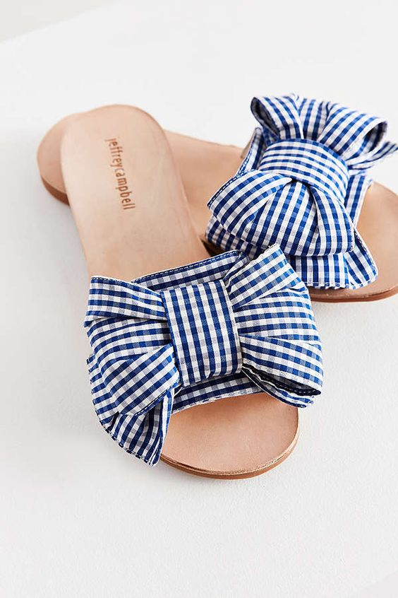 Check bow summer open toe shoe style