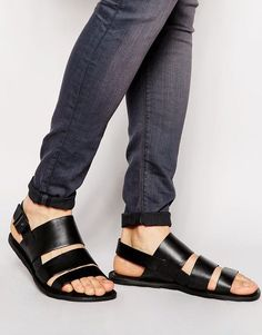 Black Summer Strappy Sandals For men