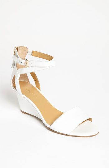 White summer block heels for women