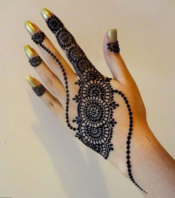 simple mehndi design for left hand for eid