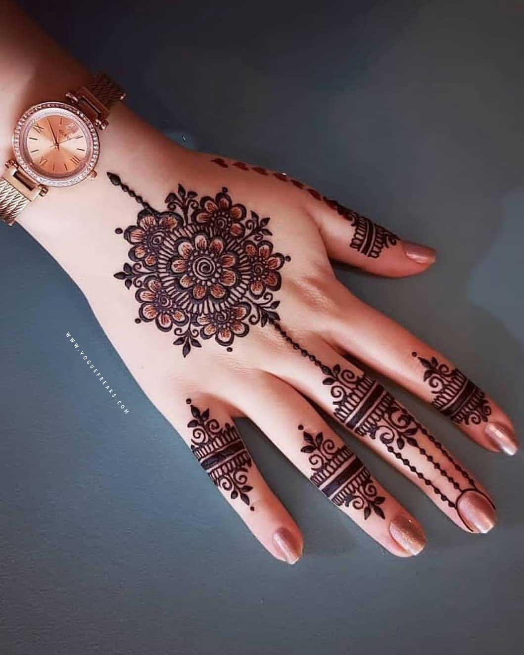 simple tikki mehndi design for eid