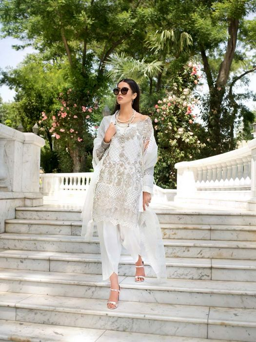 Gul Ahmed White Embroidered Organza For Eid