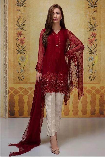 Maria B Maroon Suit For Eid