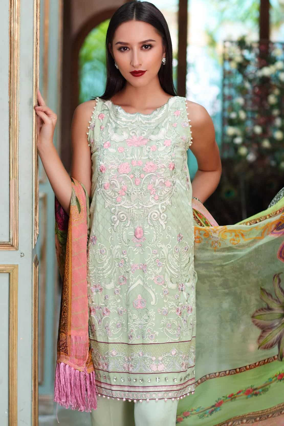 So Kamal Light Green Embroidered Suit