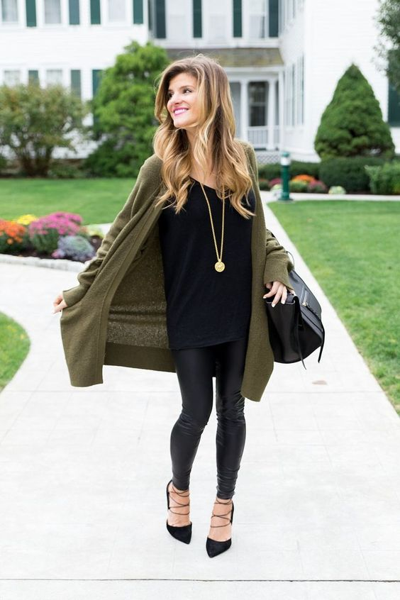 Black jeans with long sweater
