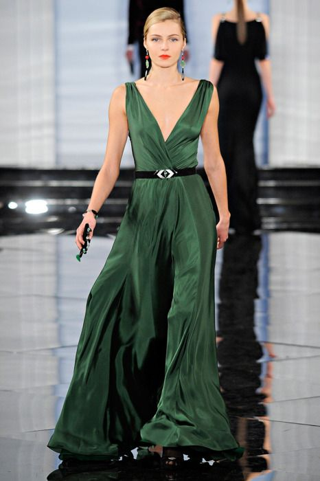 Emarld green Full length gown for evening