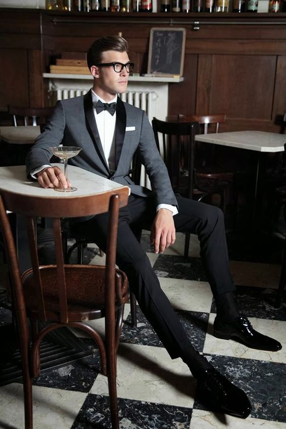 Grey Cocktail attire for men