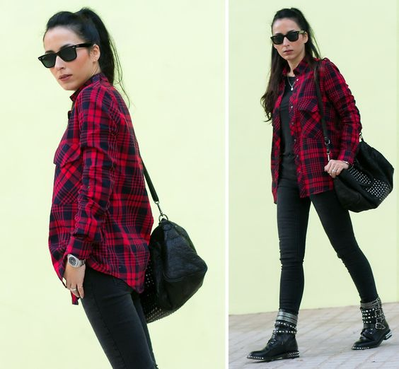Black Jeans With Checkered Shirt