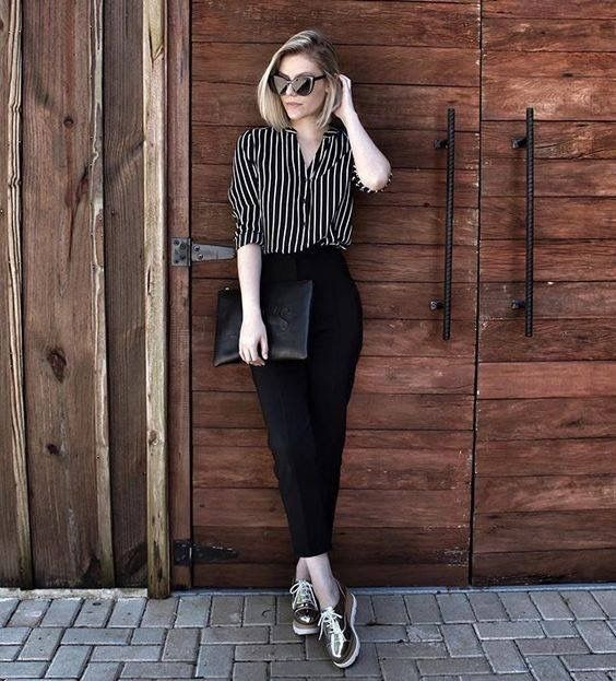 Black Jeans with With Striped shirt
