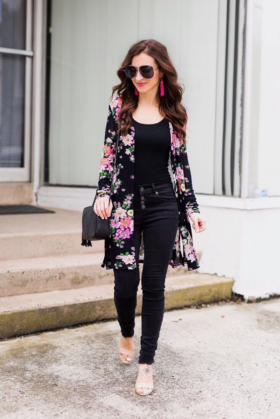 Black jeans with Floral duster