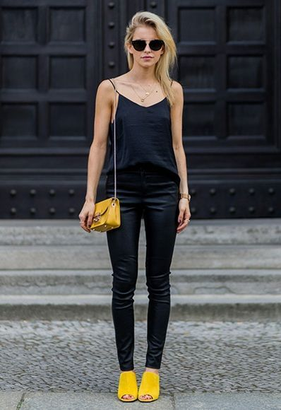 Black jeans with black sleeveless